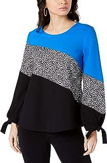Alfani Women's Color Block Tie Long Sleeve Blouse Top