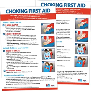 Choking Poster for Restaurant - Baby/Infant CPR Poster 2019 - Laminated First Aid Sign - Child and Adult CPR Instructions - Daycare Supplies - Heimlich Maneuver Chart (2 Pack) - 12 x 18 Inches