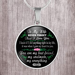 To my wife. my soulmate never forget that I love you stainless steel round pendant necklcae
