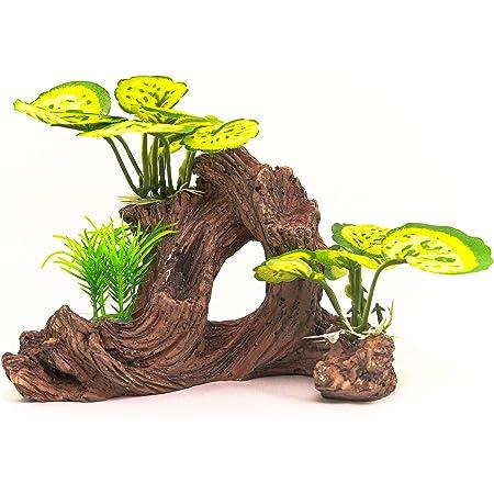 Hamiledyi Resin Wood Driftwood Aquarium Decoration Fish Tank Ornament with Mountain Landscaping Extra Lifelike Plastic Plant for Fish Shrimp Lizard Gecko Reptile Climb Play