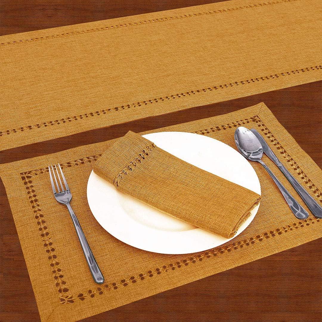 Grelucgo Camino de mesa de comedor hecho a mano de color s/ólido bufanda para aparador doble dobladillo oro marr/ón, 35 x 91 cm