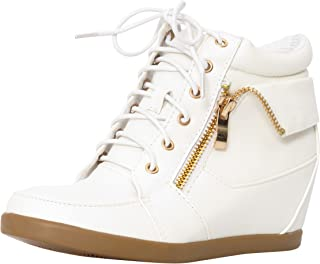 JJF Shoes -30K Kids Fashion Leatherette Lace-Up High Top Wedge Sneaker Bootie