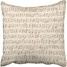 Emvency Throw Pillow Covers 18 x 18 Inches White Music Vintage Grunge with Handwritten Musical Notes Sheet Old Sketch Symp...