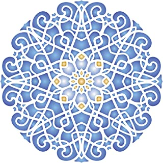 Geometric Stencil, 10 x 10 inch (M) - Arabic Islamic Mosaic Mandala Design Stencils Template for Painting