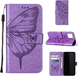 Wallet Case for iPhone 13 Pro Max 5G Case Slim Embossed Butterfly PU Leather with Card Slots Kickstand Cover Heavy Duty Shockproof Anti-Drop Silicone for iPhone 13 Pro Max Cases-6