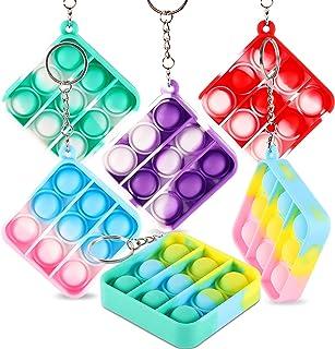 PhyPa 6 PCS Pop Bubble Fidget Toy, Mini Keychain Stress Relief Autism Special Needs Squeeze Sensory Hand Toys for Kids Fam...