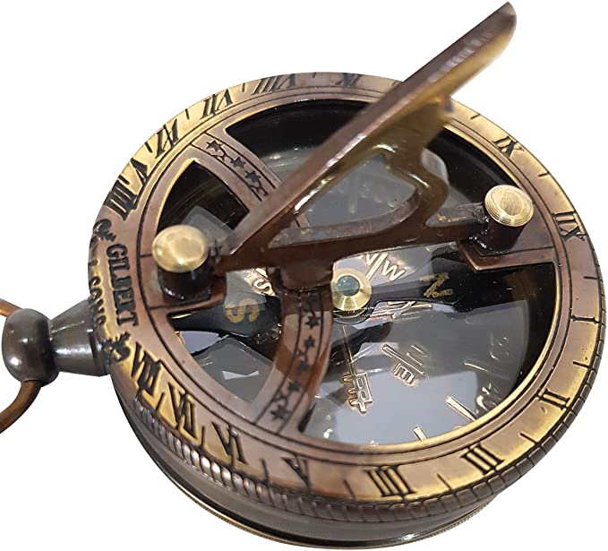 Steampunk Accessories | Goggles, Gears, Glasses, Guns, Mask Engravable Brass Pocket Sundial Compass Nautical Antique Style Marine Compass Brass Finish  AT vintagedancer.com