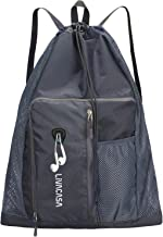 LIVACASA Zwemmen koord tas waterdichte voering met mesh zak grote strandrugzak sneldrogend sport gymtas opvouwbaar verstel...