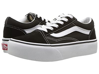 Vans Kids Old Skool Platform (Little Kid/Big Kid) (Black/True White) Girls Shoes