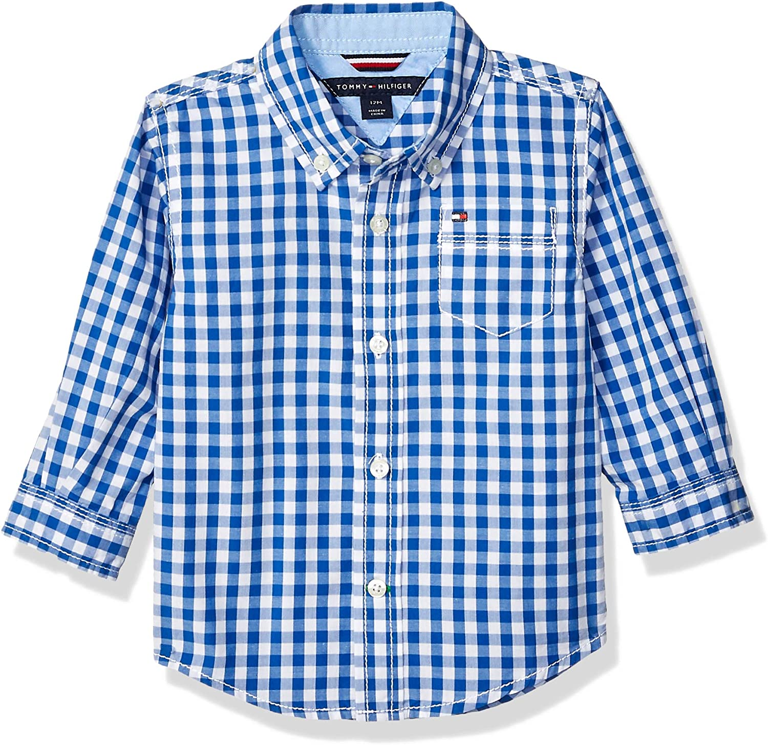 Tommy Hilfiger Boys Easy-to-use Long Sleeve Woven Cotton Shirt Finally popular brand Collar 100%