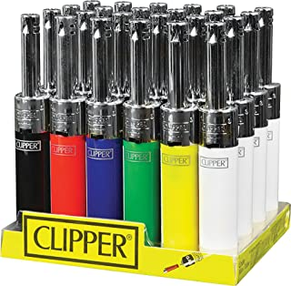 Clipper 24ct electronic mini tube lighters. Solid colors w/chrome stem. Refillable.