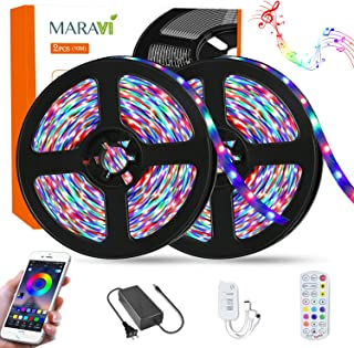 LED Strip Lights, Maravi 32.8ft/10M RGB LED Light Strip 5050SMD Color Changing Rope Light Sync to Music RGB Light Strips with APP Control for Party Home DIY Decoration