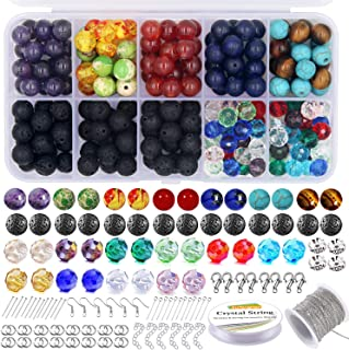 EuTengHao 625Pcs Lava Stone Beads Crystal Glass Beads Chakra Beads Kit with Spacer Beads Elastic String Necklace Jewelry Chain Accessories for Diffusers Essential Oils Adult DIY Jewelry Necklace