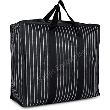 Sanjis Enterprise Canvas & Polyester Strong Handles and Base Heavy Bag/Multipurpose Storage Organizer and With Zipper On Top (Black)