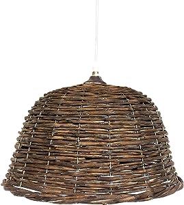 Rebecca Mobili Lampada a sospensione in vimini, lampadario stile vintage marrone, cucina e salotto, Max 60 W E27 GLS - 34 x 44 x 44 cm (HxLxP) - Art. RE6207