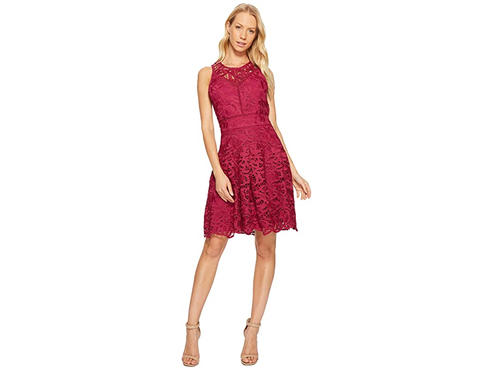 45262a12 Adelyn Rae Dylan Fit and Flare Dress (Magenta) Women's Dress