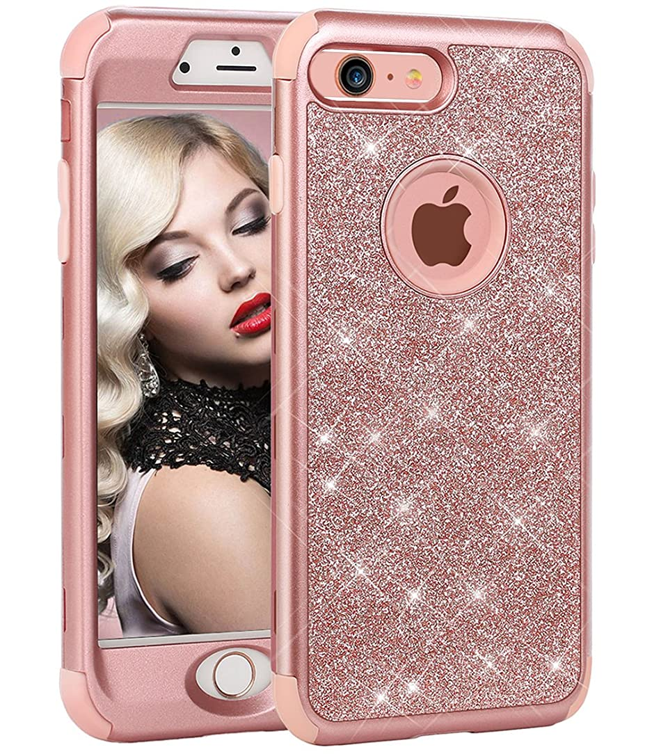iPhone 6 Plus Case,iPhone 6s Plus Case, WORLDMOM 3 in 1 Glitter Sparkle Bling Heavy Duty Hybrid Sturdy Armor Defender Shockproof Protective Cover Case for iPhone 6 Plus/iPhone 6s Plus-Rose Gold