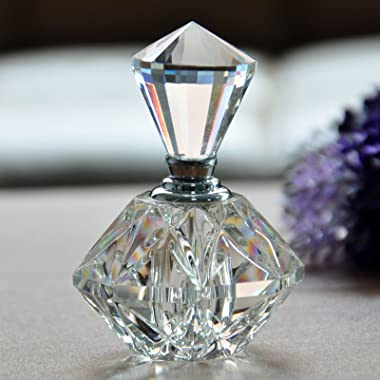 H&D Clear Carved Crystal Empty Mini Refillable Perfume Bottle