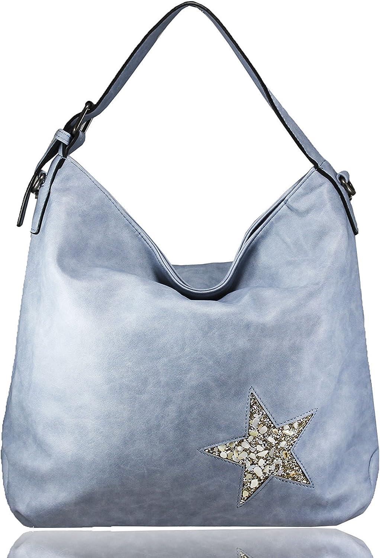FERETI Damen Schultertasche Blau mit stern design Kristall Steinen und Muscheln B01MT6QK1P  Hochwertig