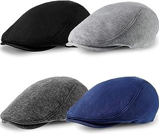4 Pieces Men's Cotton Flat Cap Ivy Gatsby Newsboy Hat Driving Cabbie Hunting Cap