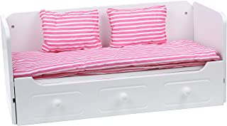 Beverly Hills Doll Trundle Bed with Bedding Day Bed Wooden Furniture Accessories Special for Doll Sleep-Overs Fits 18 Inch American Girl Doll Made with Extra Durable Solid Wood