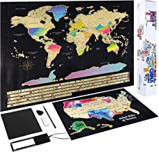 """Scratch Off Map of The World - (2-in-1) World Map with Scratch Off USA Map, Gift Messaged Box + Storage Pouch with Bonus Tools - 23.4"""" x 16.5"""", Gift Box"""