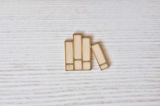 figuras de madera contrachapada adornos de madera en forma de decoraci/ón decoupage sin pintar Juego de 10 libros de madera contrachapada cortados con l/áser corte de madera EW0574 7 cm