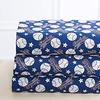 Elegant Home Blue White Red Baseball League Sports Design 4 Piece Printed Sheet Set with Pillowcases Flat Fitted Sheet for Boys/Kids/Teens # Baseball (Twin Size)