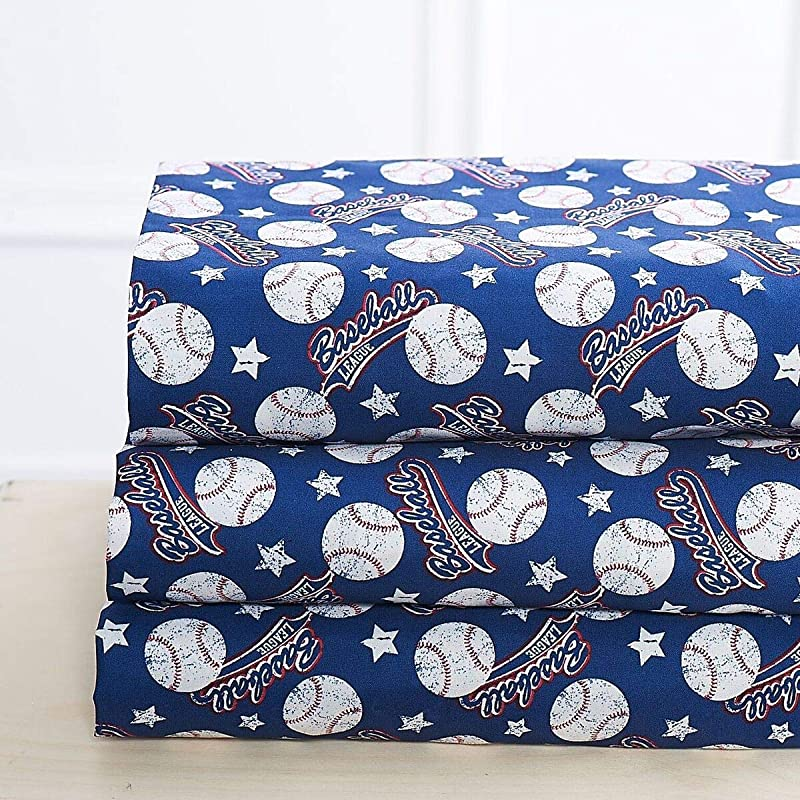 Elegant Home Blue White Red Baseball League Sports Design 4 Piece Printed Sheet Set With Pillowcases Flat Fitted Sheet For Boys Kids Teens Baseball Full