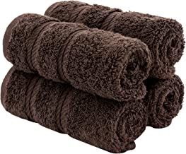 American Soft Linen Premium Turkish Genuine Cotton, Luxury Hotel Quality for Maximum Softness & Absorbency for Face, Hand, Kitchen & Cleaning (4-Piece Washcloth Set, Chocolate Brown)