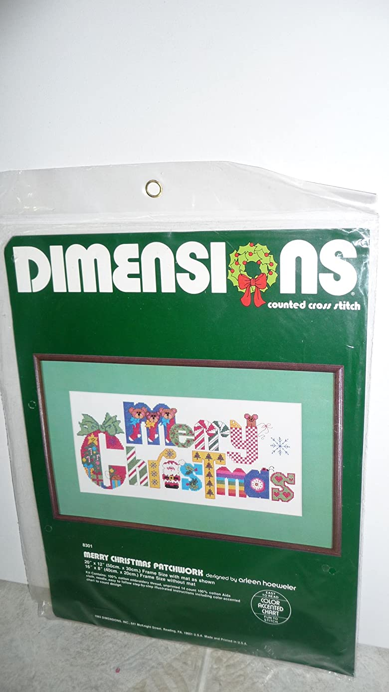 Dimensions Merry Christmas Patchworkk 8301 Counted Cross Stitch Kit