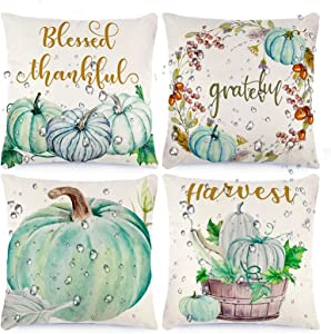 CDWERD Fall Waterproof Pillow Covers 18x18 Inches Thanksgiving Pillow Covers Outdoor Autumn Decorations Garden Decorative Cushion for Patio Tent Couch Set of 4