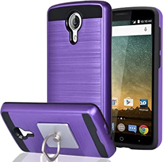 ZTE N817/Uhura/Ultra/Quest Case With Phone Stand,Ymhxcy [Metal Brushed Texture] Hybrid Dual Layer Full-Body Shockproof Protective Cover Shell For ZTE N817-LS Purple