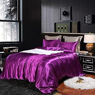 Erosebridal Hotel Purple Duvet Cover Twin/Single Silk Like Satin Bedding Set Summer Reversible Quilt Comforter Cover Honey...