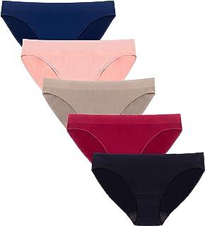4c97fa83c8 Ruxia Women s Seamless Hi Cut Panties Nylon Spandex Bikini Underwear Pack  ...