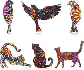 WILLBOND 6 Pezzi Spilla a Forma di Animale Set Unisex Gatto e Uccello Spilla Risvolto Spillo Smalto Spilla