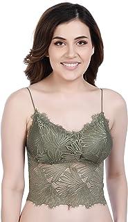 SHOPPY VILLA Women's Lace Padded Bralette Bra Camisole Crop Top, Free Size (28 to 34)