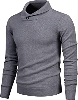 Mens Shawl Sweaters,Casual Slim Fit,Knitted Collar Long Sleeve,Outwear Soft Cotton with One Button