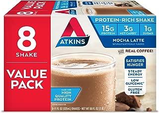 Atkins Gluten Free Protein-Rich Shake, Mocha Latte, Keto Friendly, 8 Count