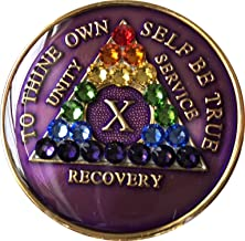 10 Year Purple Rainbow Swarovski Crystal Tri-Plate AA Medallion Chip
