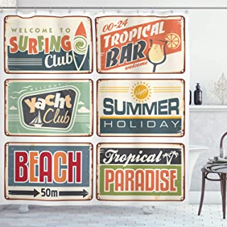 Ambesonne Retro Shower Curtain, Summer Holiday Vintage Camping Beach Sign Boards in Old Style Faint Colors Art Print, Cloth Fabric Bathroom Decor Set with Hooks, 75