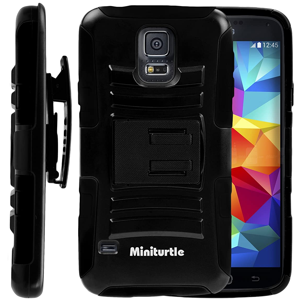MINITURTLE, High Impact Rugged Hybrid Dual Layer Protective Armor Case Phone Cover with Built in Kickstand, Swivelling Holster Belt Clip, and Clear Screen Protector Film for New Android Smartphone 2014 Samsung Galaxy S 5 V (Black)