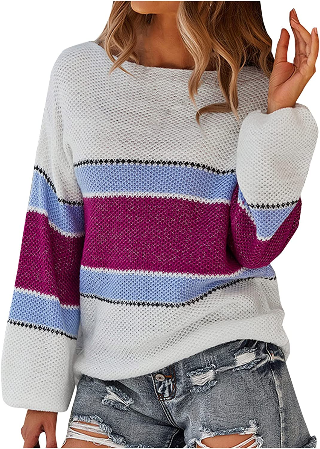 Fankle Women's Long Sleeve Crew Neck Striped Color Block Casual Loose Knitted Pullover Sweater Tops