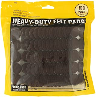 Smart Surface 8827 Heavy Duty Self Adhesive Furniture Felt Pads 1-Inch Round Brown 160-Piece Value Pack in Resealable Bag