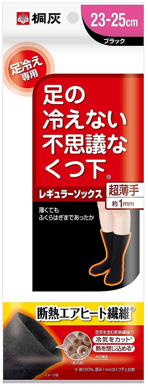 したがってまたねイデオロギー桐灰化学 足の冷えない不思議なくつ下 レギュラーソックス 超薄手 足冷え専用 23cm-25cm 黒色 1足分
