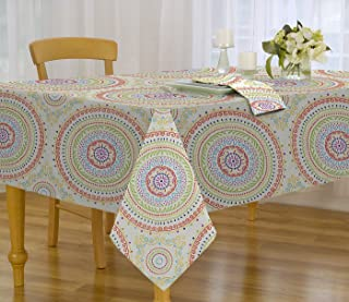 Circle Stitch Contemporary Print Indoor/Outdoor Soil Resistant Fabric Tablecloth - 70 Inch Round Tablecloth, Multi