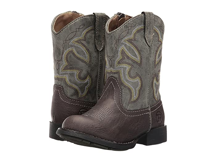 Roper Kids  Cody (Toddler) (Brown Faux Leather/Vamp Green Shaft) Cowboy Boots