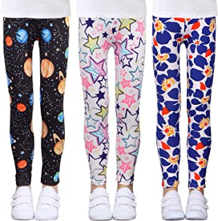 Sponsored Ad - LUOUSE Girls Stretch Leggings Kids Soft Patterns Yoga Pants Ankle Length Multipack 4-13 Years