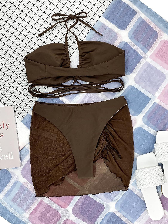 MakeMeChic Women's 3packs Criss Cross Halter Bikini Swimsuit and Drawstring Beach Skirt