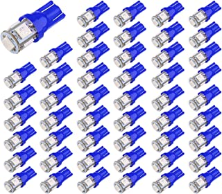 Aucan LED 50-Pack Blue Replacement 194 T10 168 2825 W5W 175 158 Bulb 5050 5- SMD LED Light, 12V Car Interior Lighting For Map Dome Lamp Courtesy Trunk License Plate Dashboard Lights